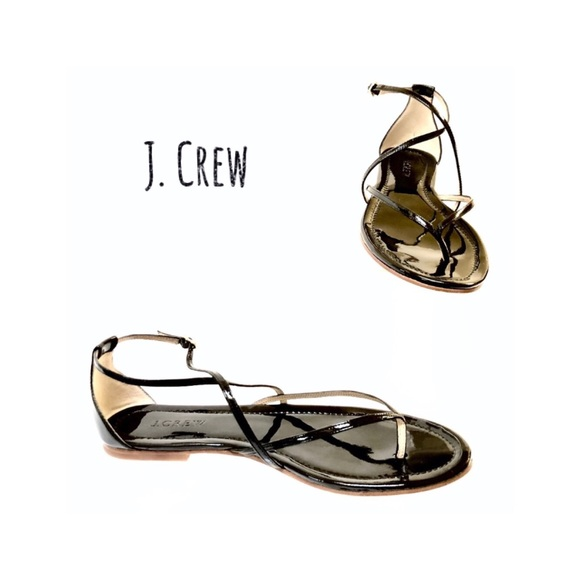 5cba0b074ab50 J. Crew Audra Black Patent Sandals. Size 8.5M